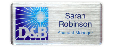 Borderless plastic name badges - White edge and brushed silver background | www.namebadgesinternational.co.uk